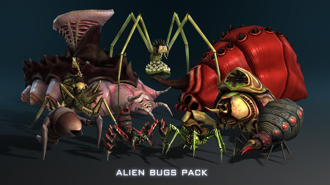 3D model Alien Bugs Pack VR  AR  lowpoly MAX FBX  CGTradercom