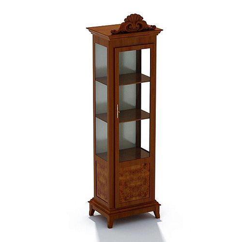 Wood And Glass Display Case Cabinet 3D model  CGTrader
