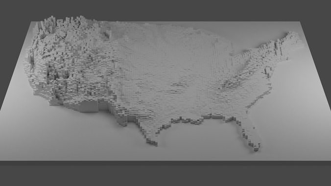 Public elevators often serve as tourist magnets — they're unusual, they're often historic landmarks and the views from the top can be breathtaking. United States Elevation Map 3d Model 3d Printable Cgtrader