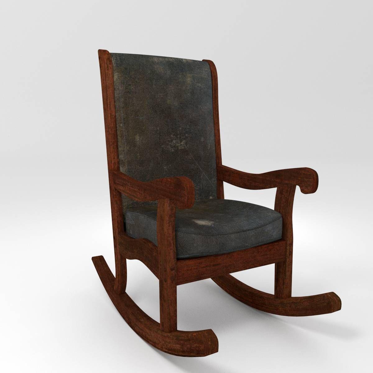Old Rocking Chair 3D Model OBJ FBX BLEND  CGTradercom