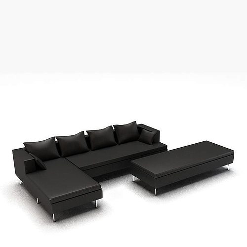 Modern Black L Shaped Leather Couch 3D model  CGTrader