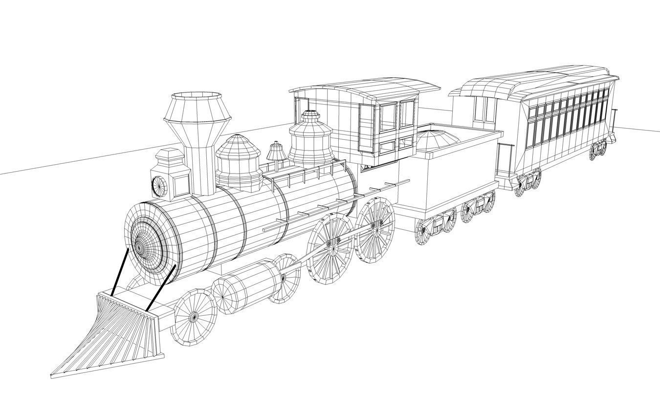 3d Model Low Poly Steam Engine Train Vr Ar Low Poly