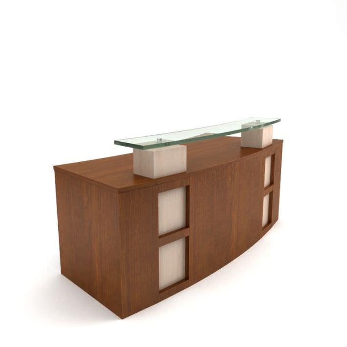 Modern Wooden Receptionist Desk 3D Model