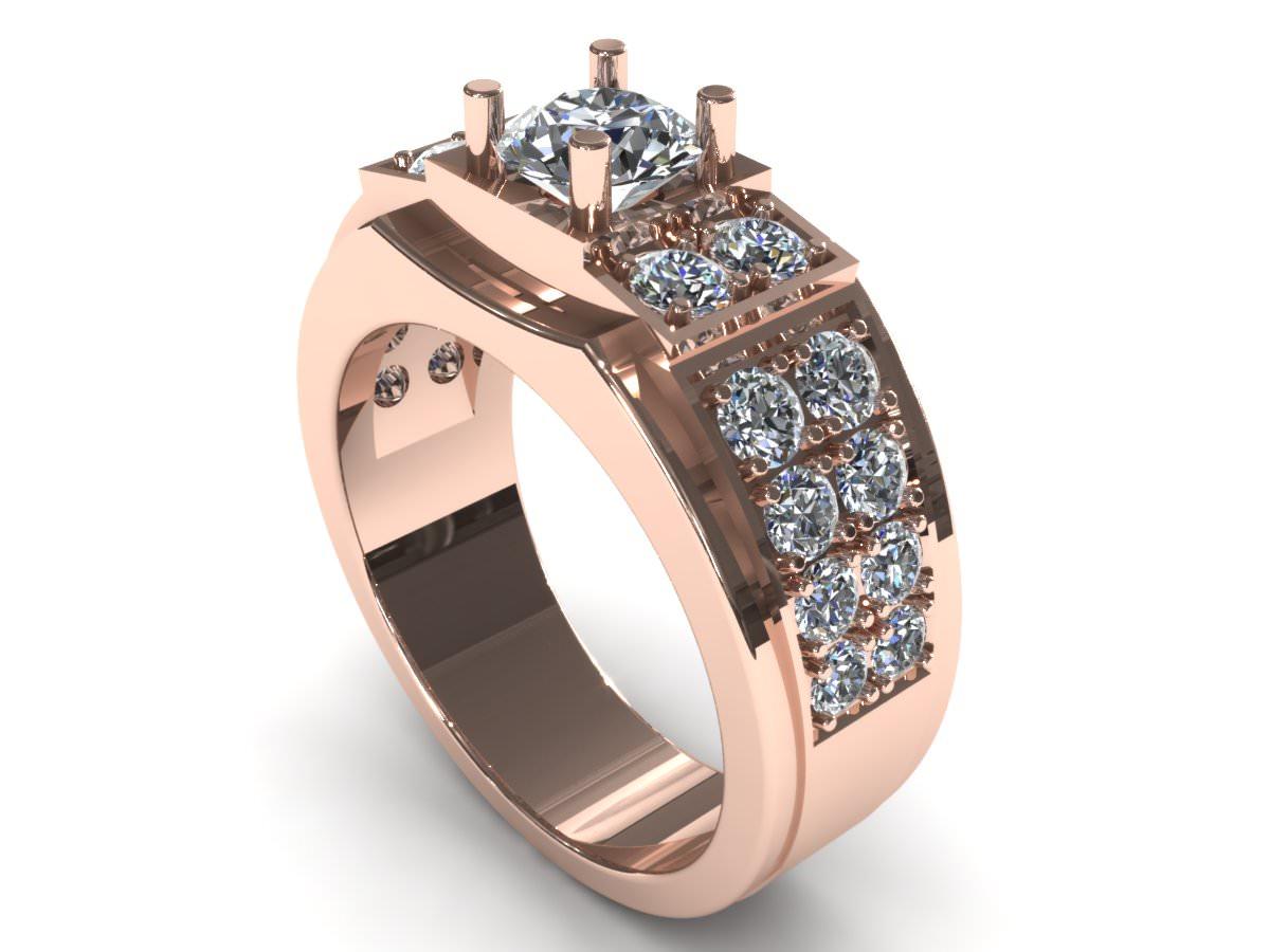 Man Wedding Diamond Ring 3D Model 3D printable stl 3dm