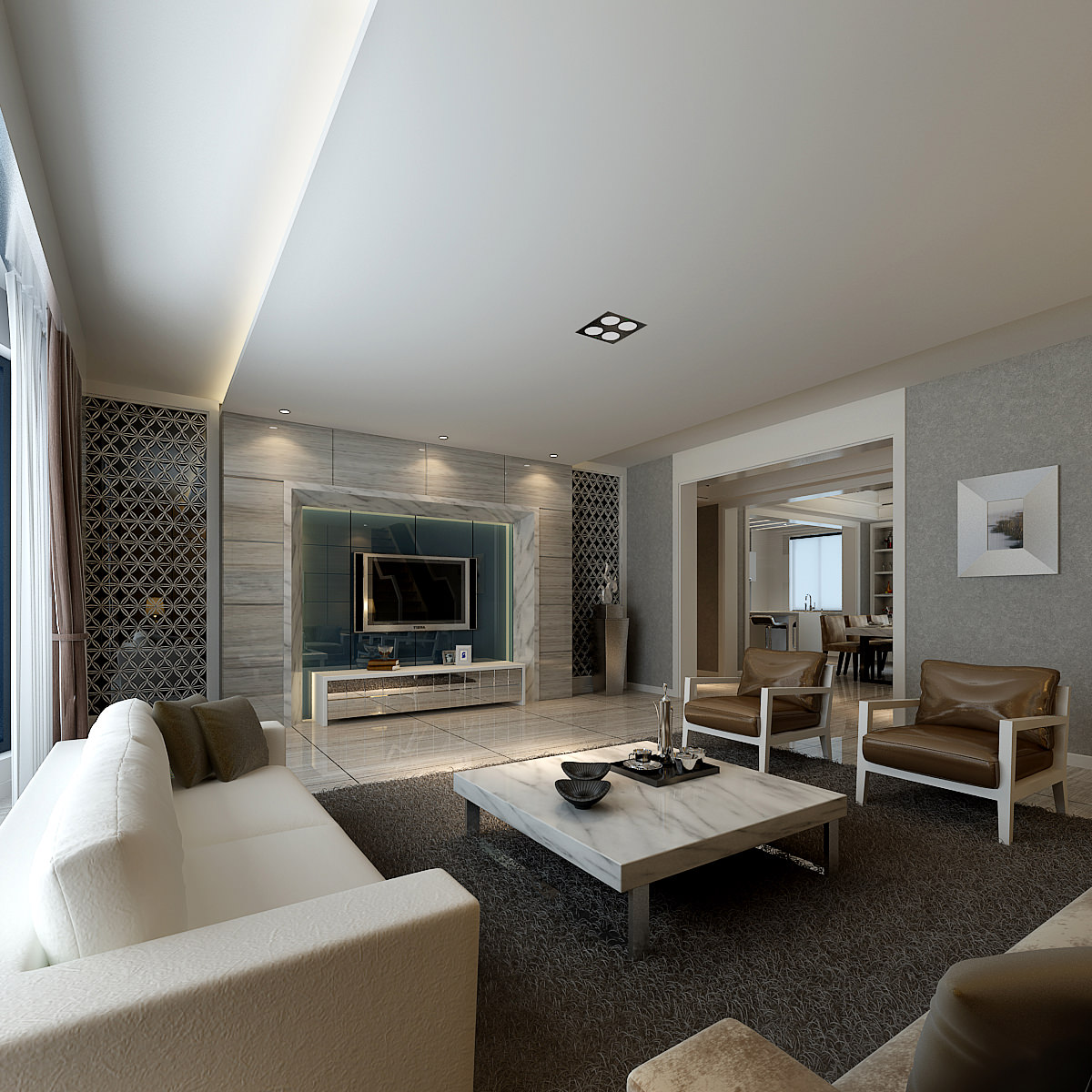 Modern Living Room With Luxury Furniture 3D Model .max   CGTrader.com
