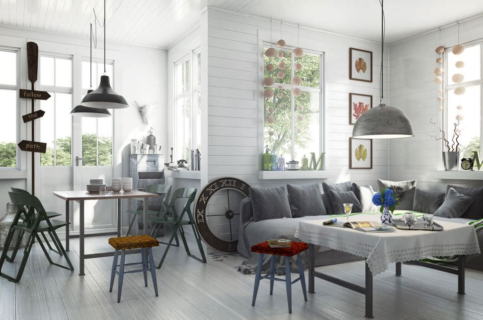 Scandinavian Style Living Room With Dining 3D Model