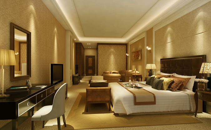 Luxury Bedroom Interior 3d Max Model Free Download House Orange