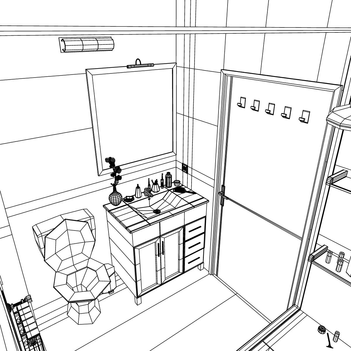 Bathroom 3d Model Sketch Coloring Page