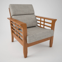 Wooden sofa with cushion 3D model | CGTrader