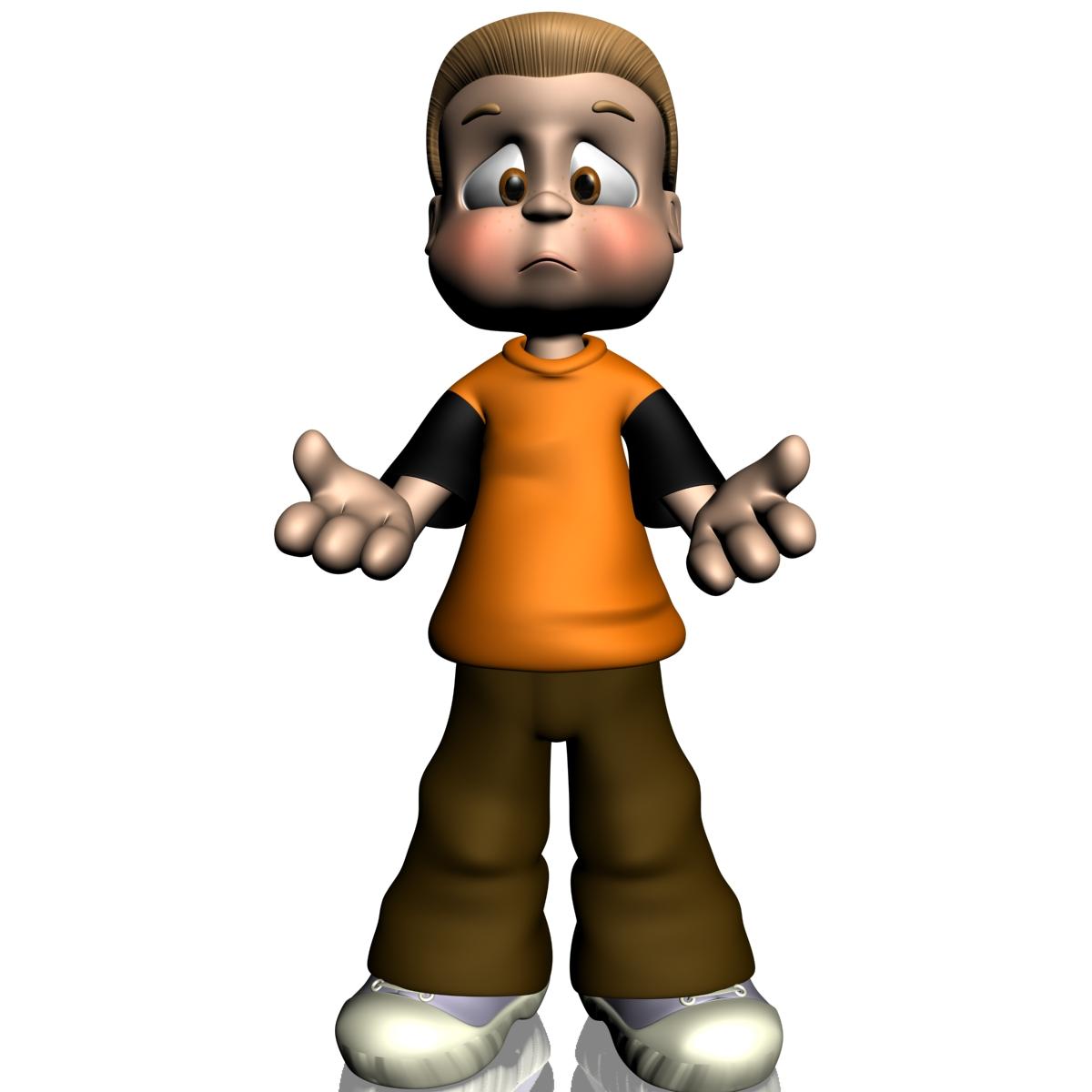 Cartoon Boy Rigged 3d Model Game Ready Rigged X Obj