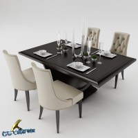 Dining table set 3D Model .max .obj .3ds .fbx - CGTrader.com