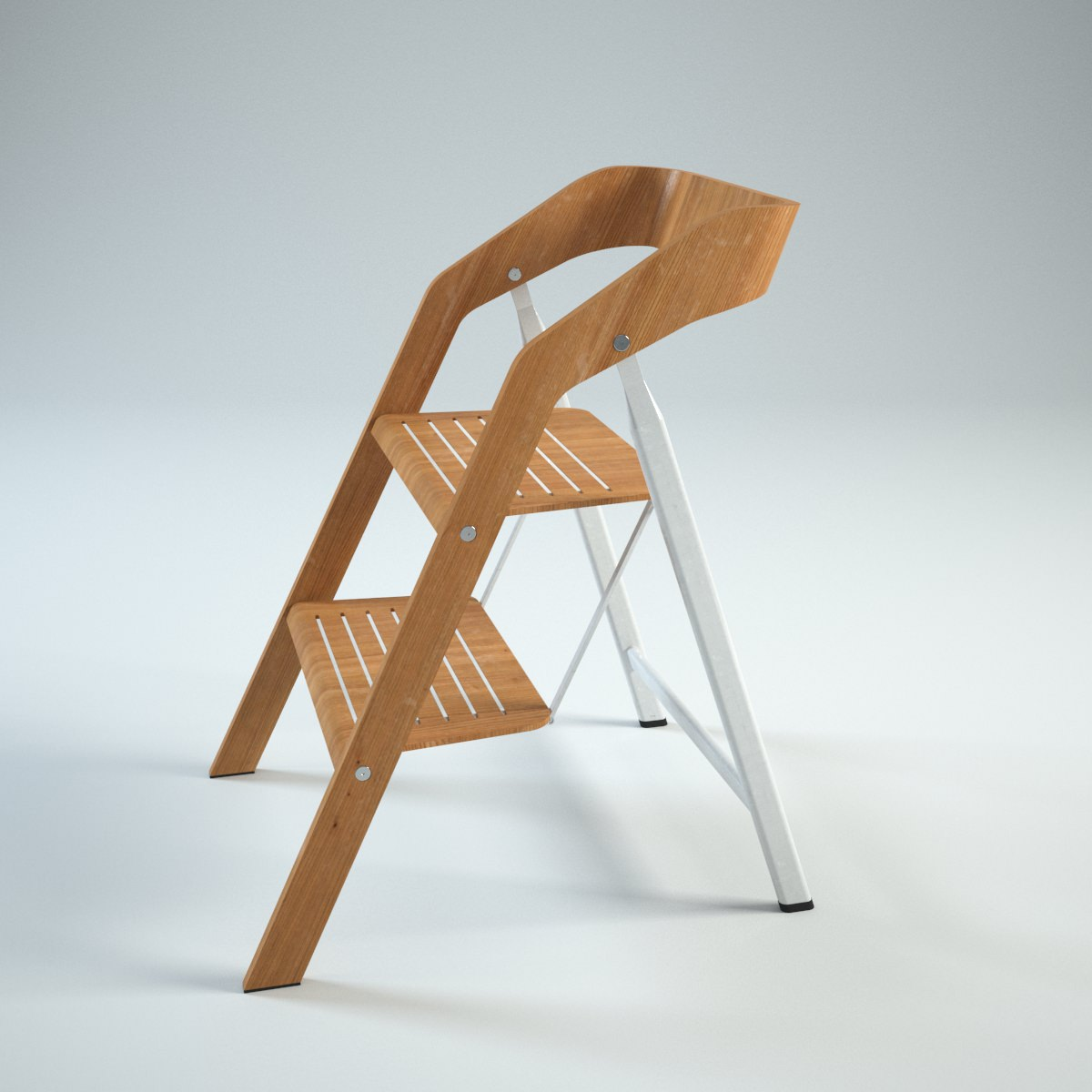 step 2 chair folding on wall vintage usit stepladder version 3d model max