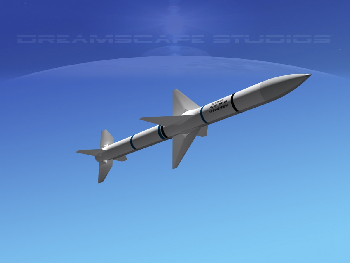AIM120 AMRAAM Missile 3D Model Game ready rigged max