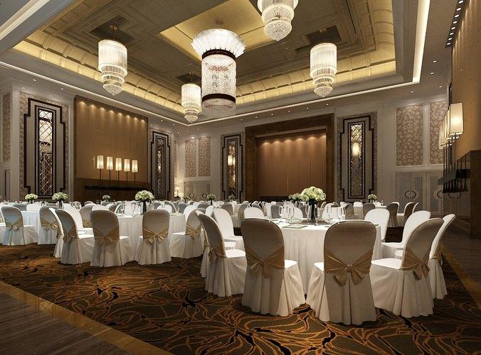 3D model barcounter Modern Banquet Hall  CGTrader