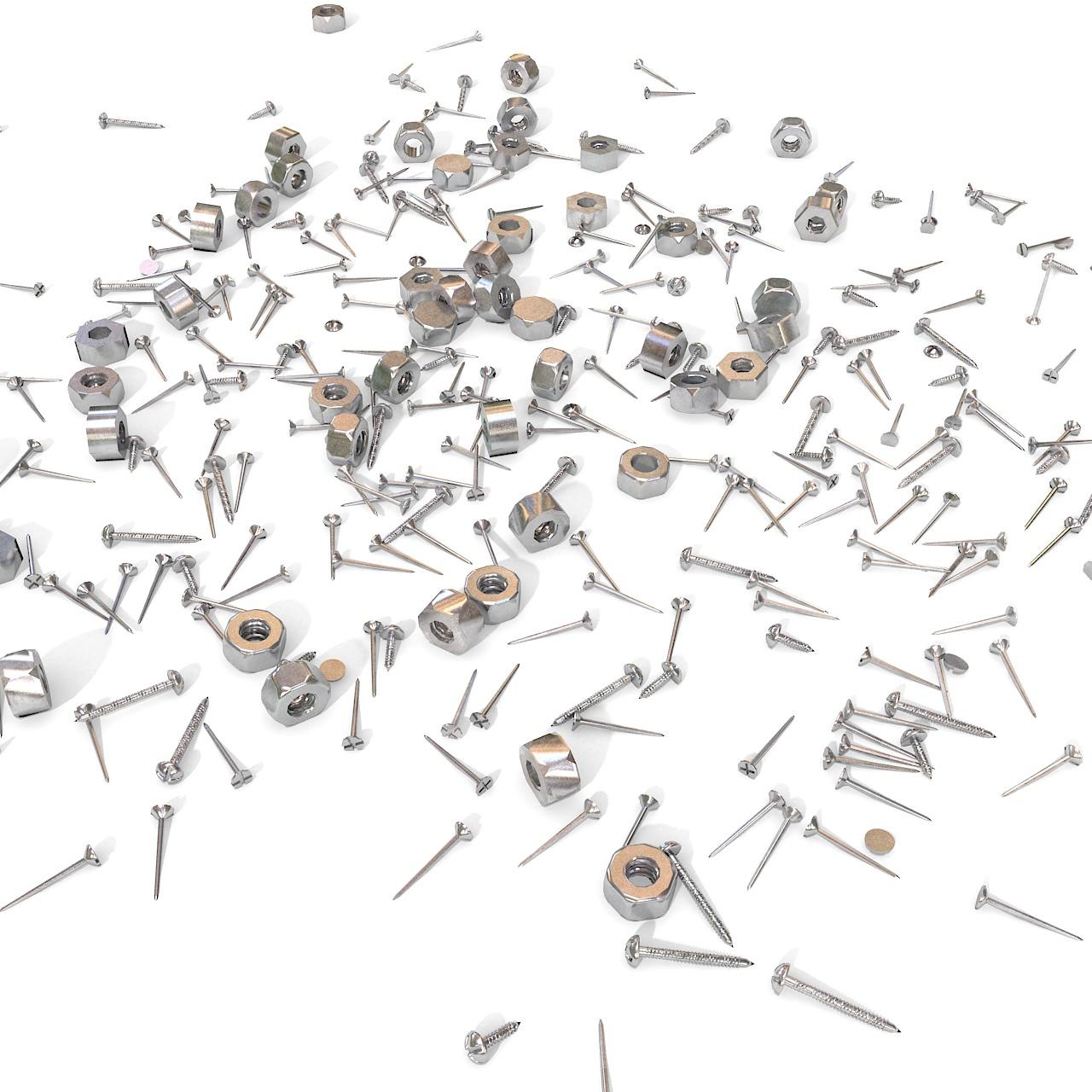 Metallic Rusty Nail And Screw Junk Debris Scrap Industrial