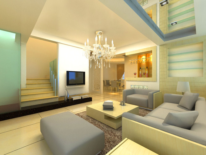 Modern Living Hall Interior with Sectional Sofa 3D model MAX