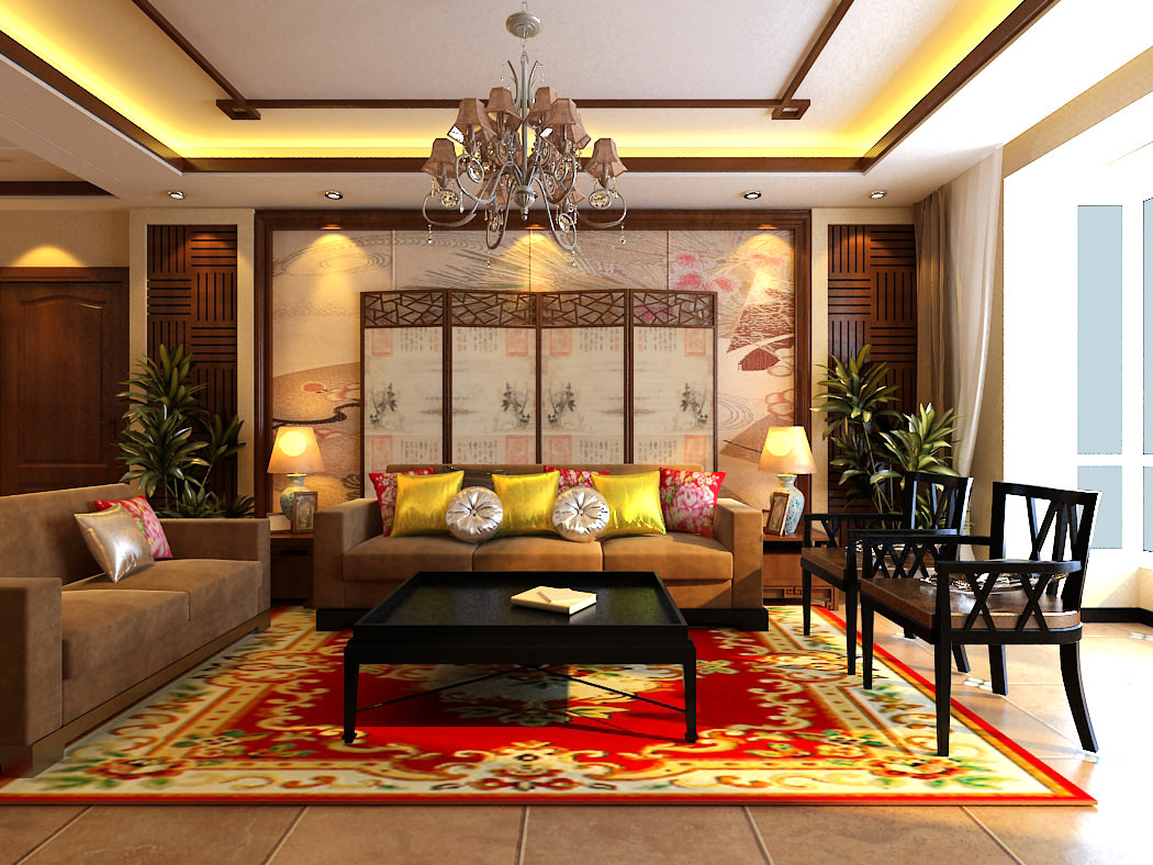 Modern Living Hall Interior with Carpet 3D Model max  CGTradercom