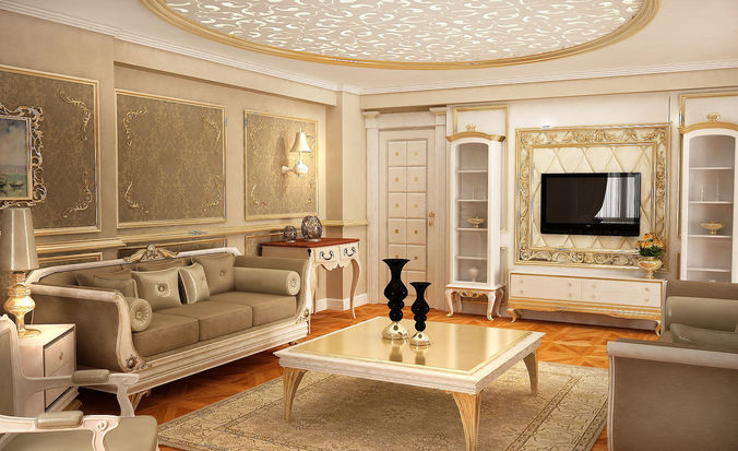 3D classic living room  CGTrader