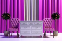 Classic velvet chair and candice dresser 3D Model .max