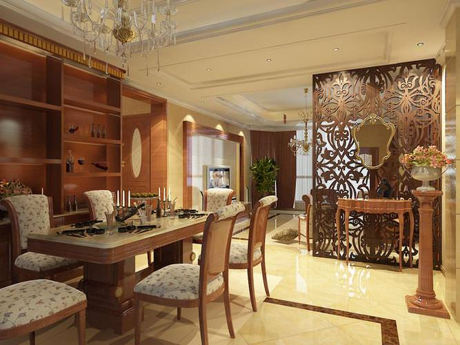 3D Dining Room with Designer Partition  CGTrader