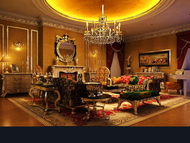 Living Room With Royal Interior 3D Model MAX
