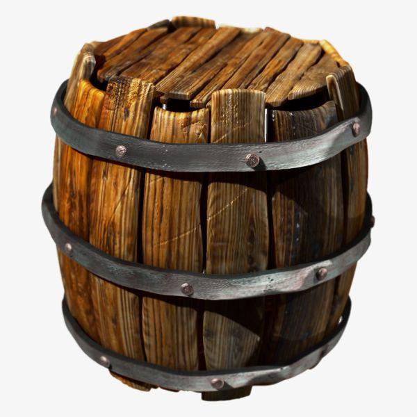 Wooden Barrel 3d Model Obj Ztl Mtl