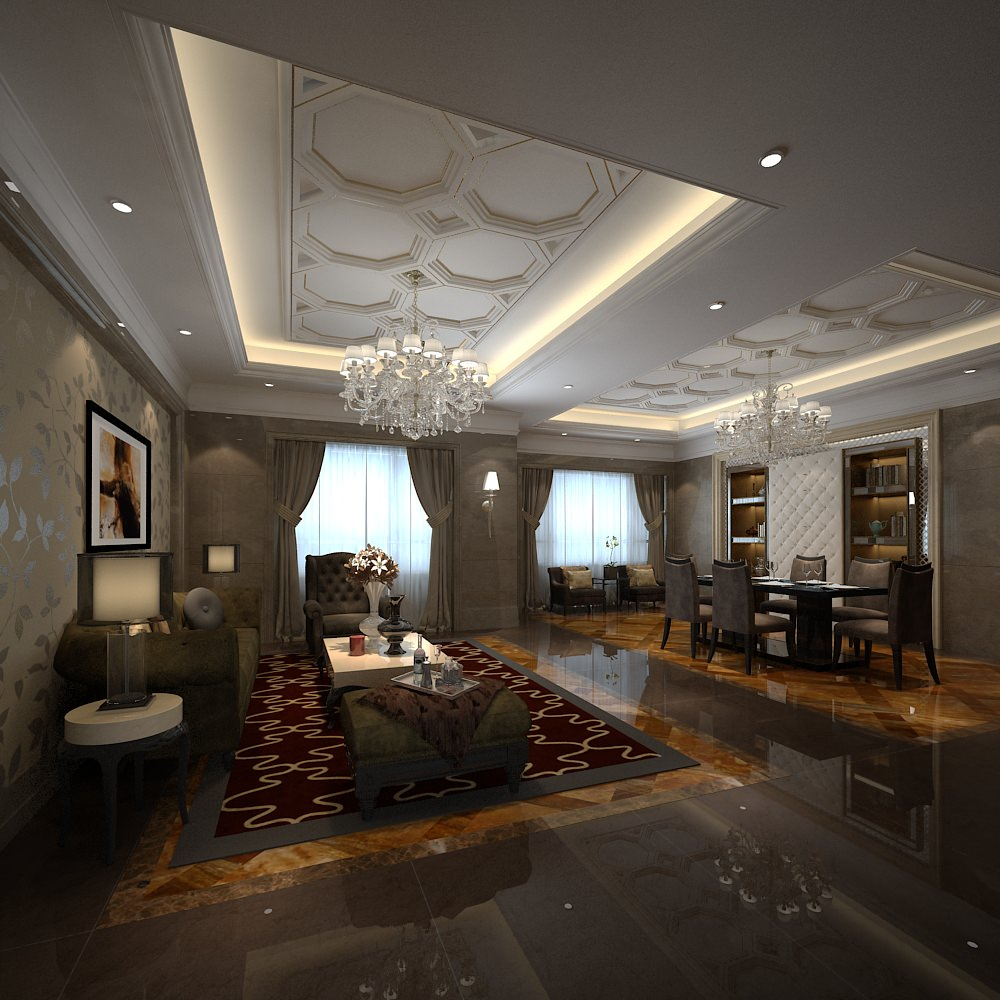 Fancy living room combined with dining room 3D Model .max