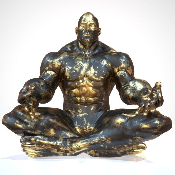 3d Model Supermuscular Sculpture Black And Gold Buddha Vr