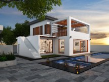 Contemporary House With Beautiful Pool 3d Model Cgtrader