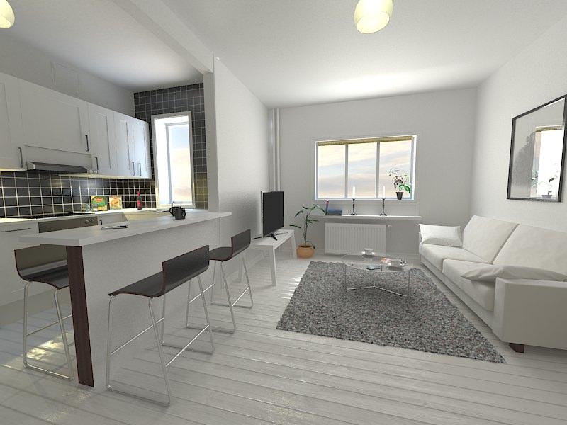 Kitchen Living Room 3D Model max  CGTradercom