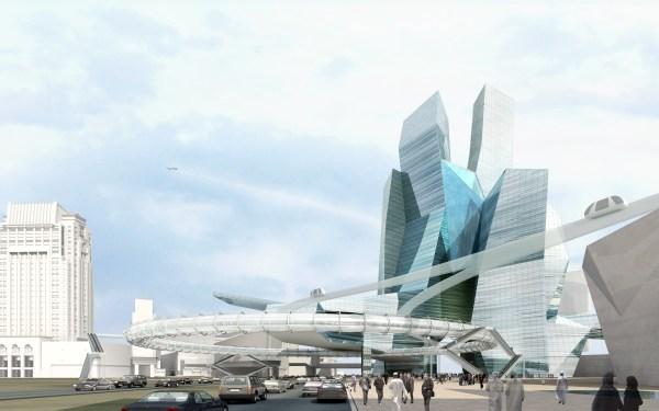 Modern Cityscape With Futuristic Building 3d Model Max