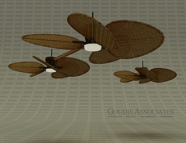 3D model Fan Rattan ceiling good for Cabanas
