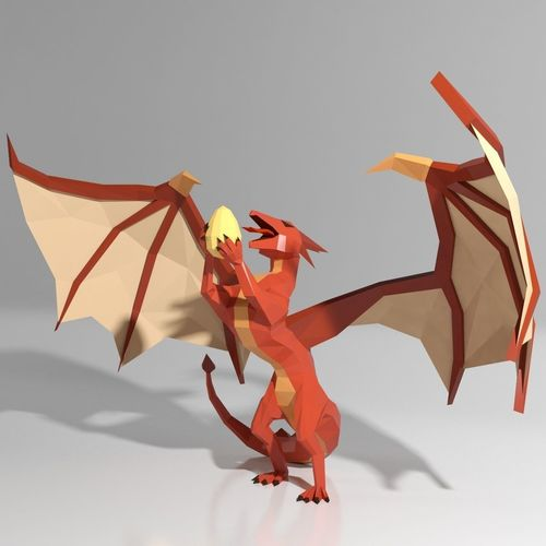 3D Model Dragon Low Poly Style CGTrader