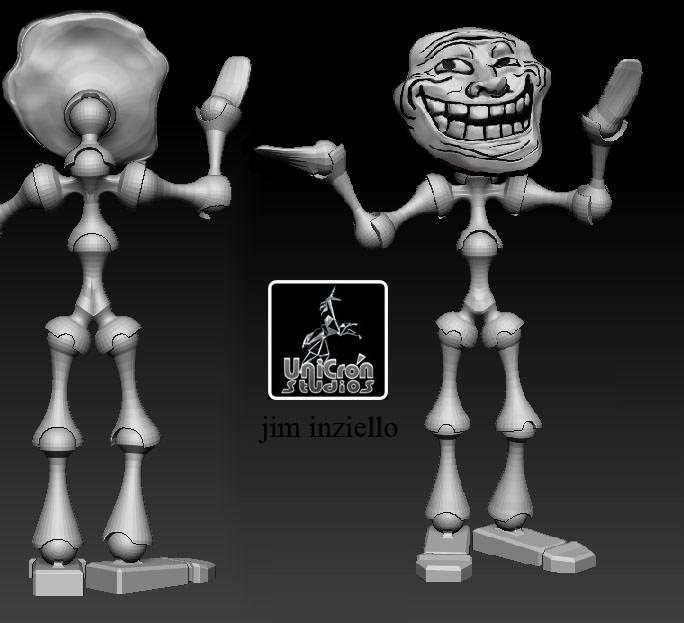 Troll Face and Posing Body 3D Model 3D printable obj stl