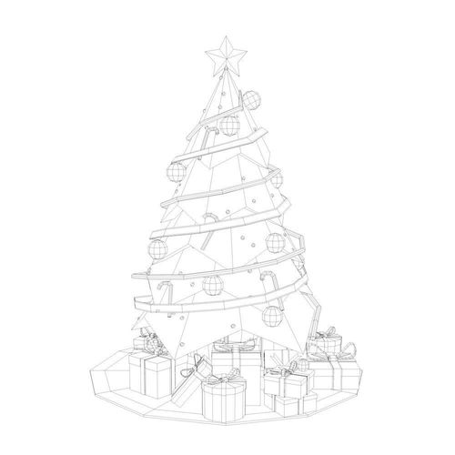 3D model Low Poly Christmas Tree VR / AR / low-poly OBJ