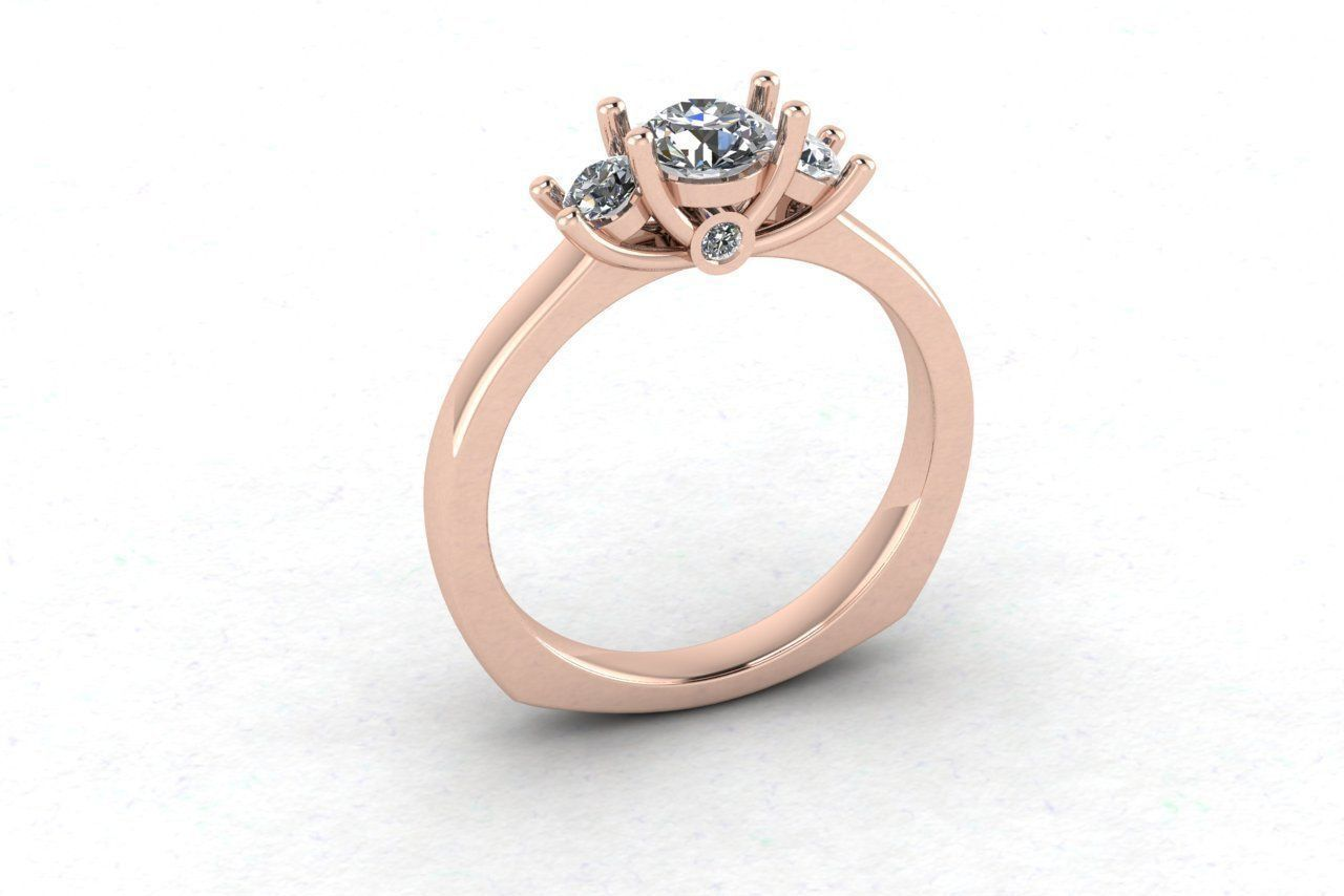 Free 3 Diamonds Engagement Ring Free 3D Model 3D Printable