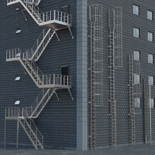 3D Asset Ladders Staircases Exterior Safety Stairs Modern