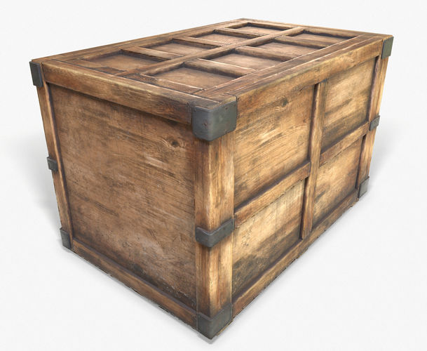 3D Model 3D Wooden Crate Game Ready PBR Textures Low Poly