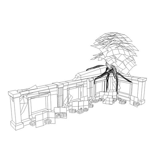 3D model Low poly jungle ruins VR / AR / low-poly MAX OBJ