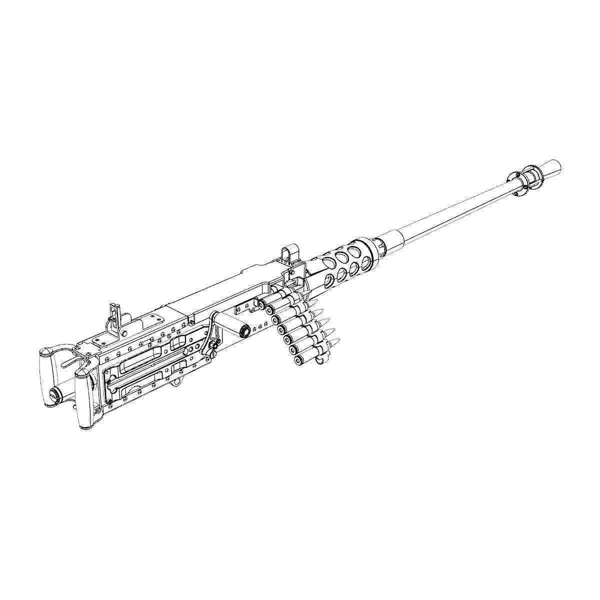 Browning Machine Gun Cal 50 M2hb Flexible 3d Model X