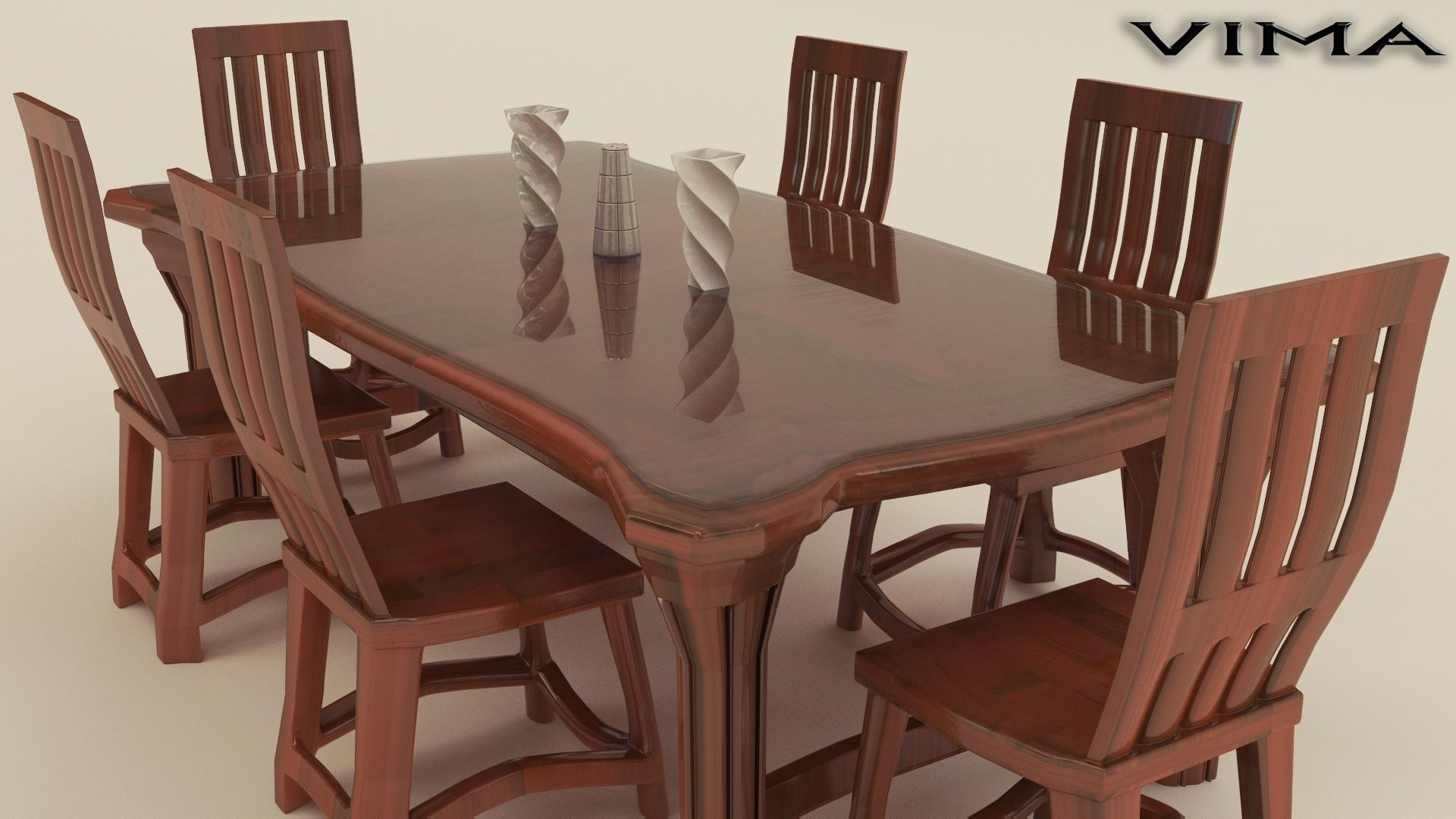 3D Model Stylish Wooden Dining Table Set