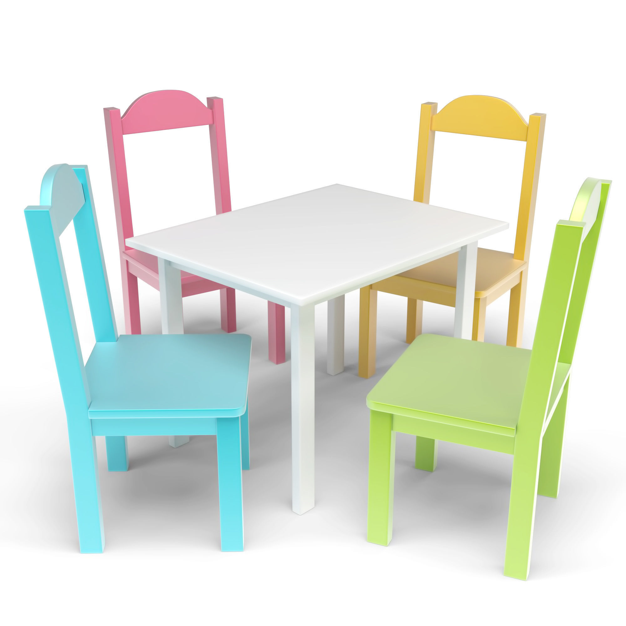 Infant Table And Chairs Kids Table And Chairs Set 3d Model