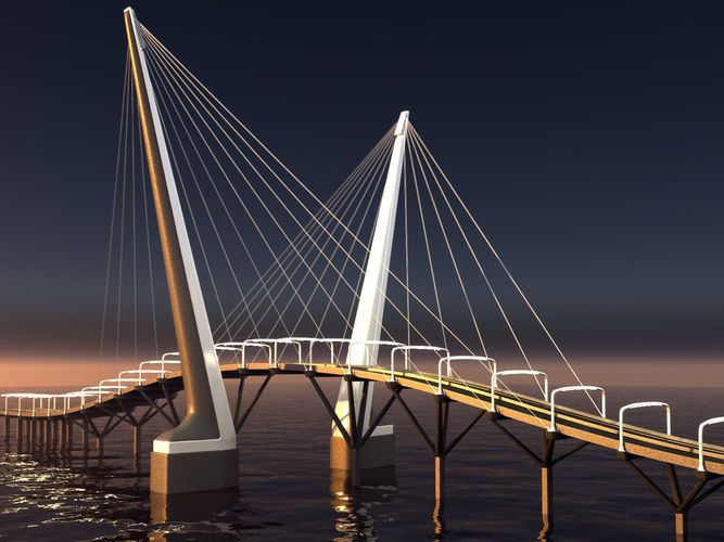 Cablestayed bridge night scene 3D  CGTrader