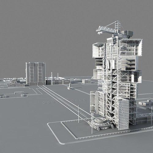 Jiuquan Satellite Launch Center 3D Model MAX OBJ FBX