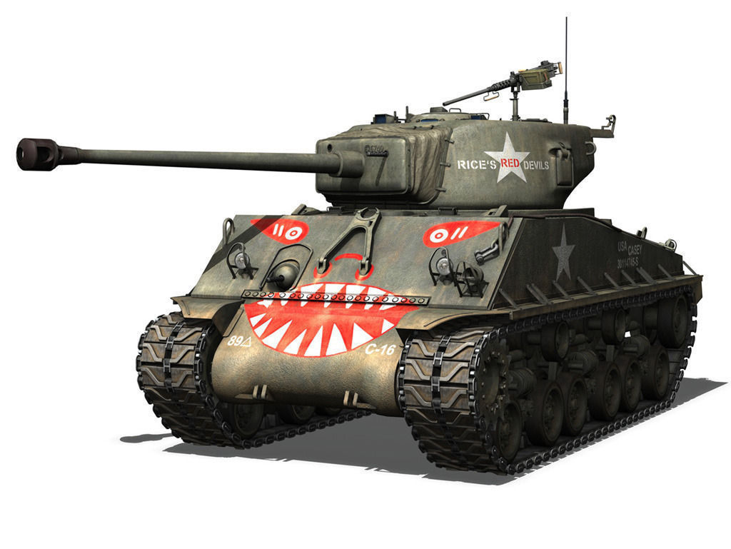 M4a3e8 Sherman  Easy Eight  Rice Red Dev 3d Model Obj