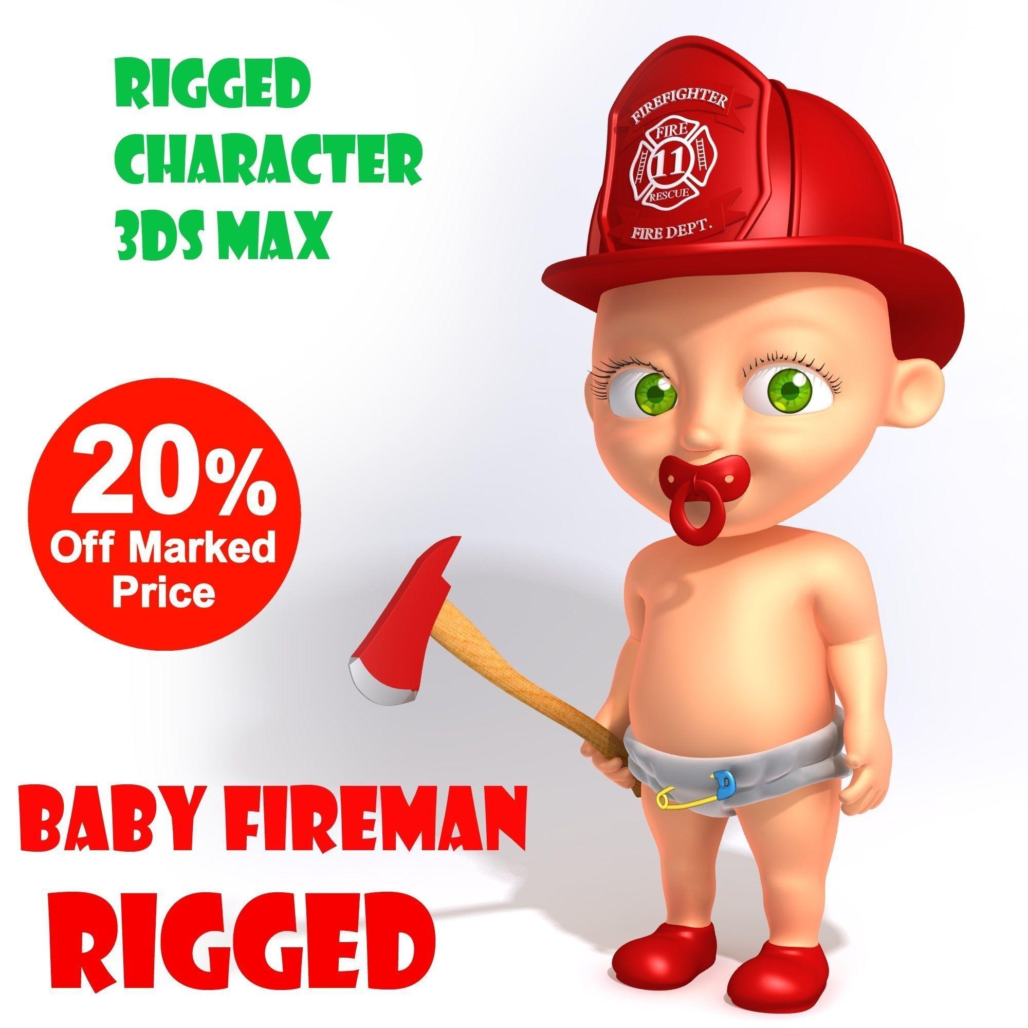 baby fireman cartoon rigged