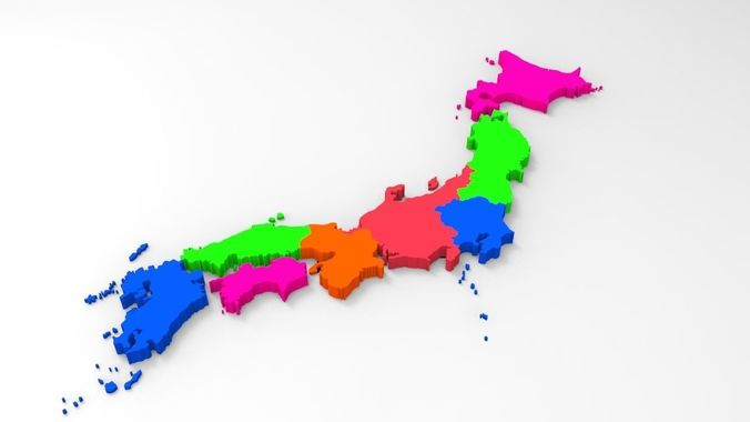 Japan Map With Its All Regions 3D Model CGTrader