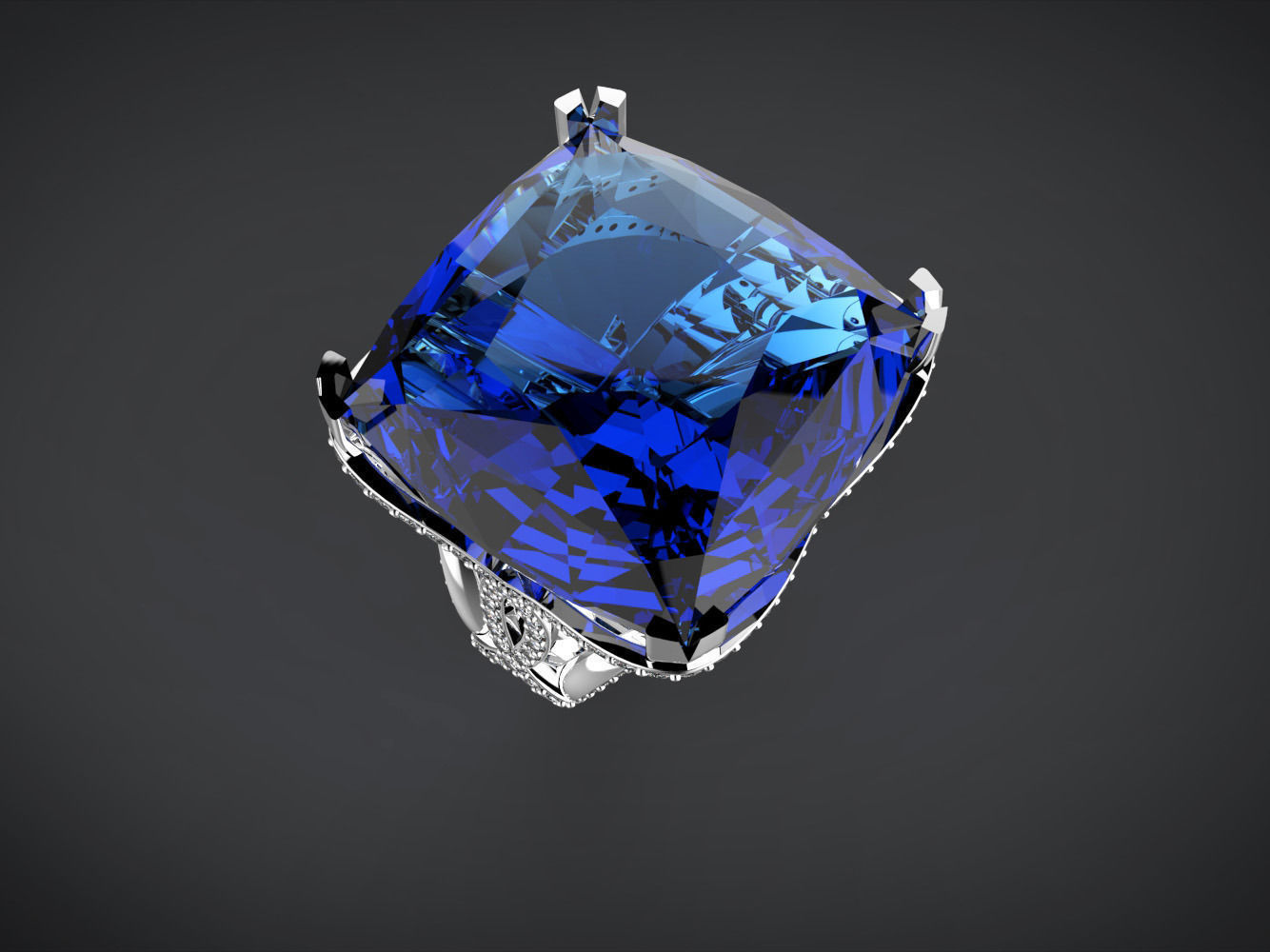 Big blue square stone ring 3D Model 3D printable stl 3dm