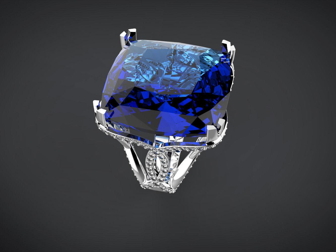 Big Blue Square Stone Ring 3D Model 3D Printable Stl 3dm
