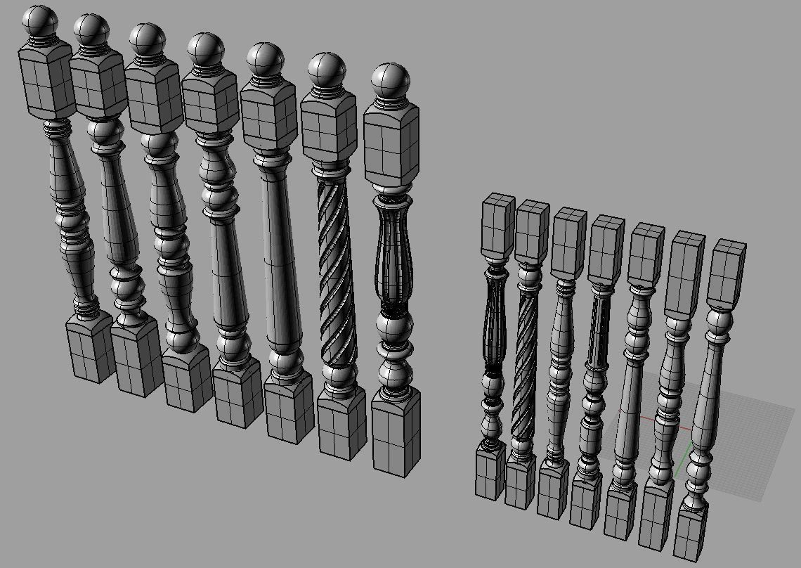 Collection Posts and Balusters 3D Model .max .obj .fbx